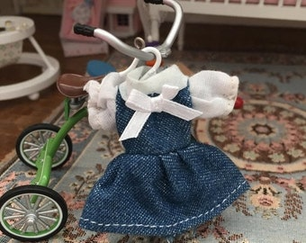 SALE Miniature Dress, Little Girl Denim Dress with Blouse, Dollhouse Miniature, 1:12 Scale, Dollhouse Clothes, Dollhouse Accessory, Decor