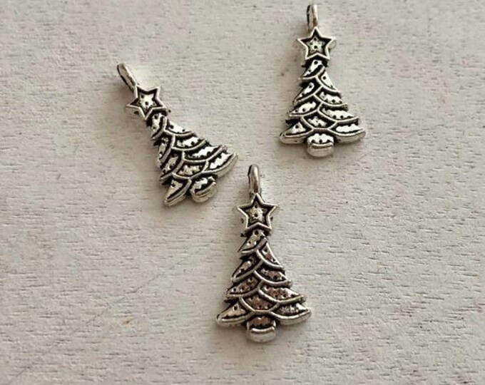 SALE Mini Christmas Tree Charms, Set of 3, Silver Trees, Dollhouse Ornaments, Crafts, Jewelry Making, Embellishments