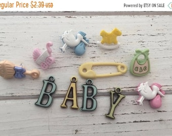 """SALE Buttons and Embellishments, Packaged Assortment by Buttons Galore """"Oh Baby"""" 4427, Blocks Stork Rattle and More, Sewing, Crafting"""