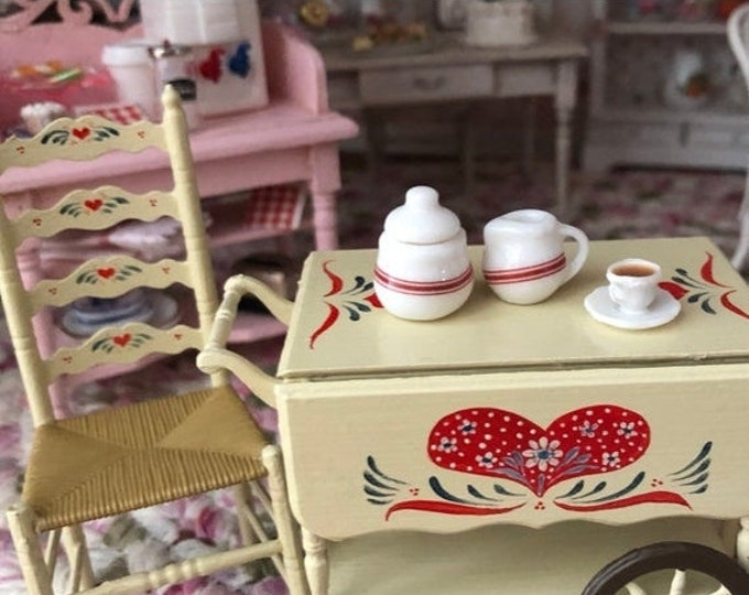 SALE Miniature Cream and Sugar Set, Ceramic Sugar Bowl and Cream, Red and White 2 Piece Set, Dollhouse Miniature, 1:12 Scale, Dollhouse Acce