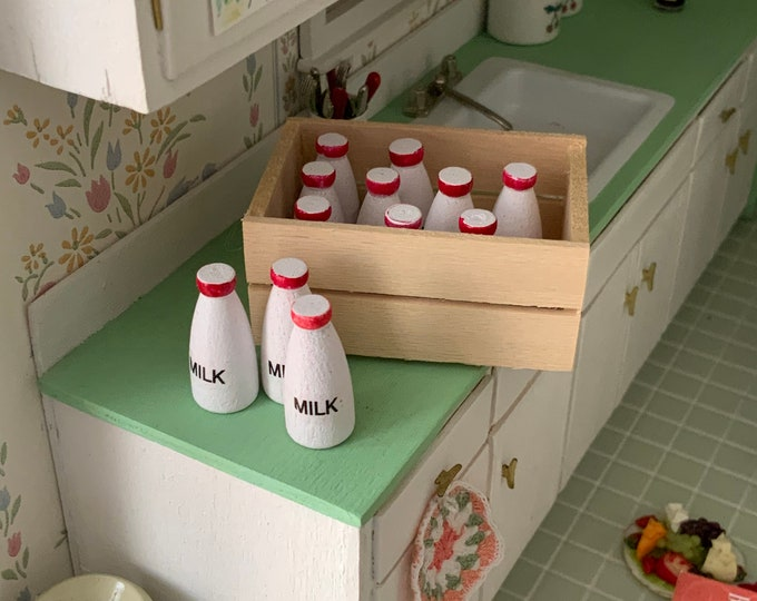 Miniature Milk Bottles And Wood Crate, 13 Piece Set, Dollhouse Miniatures, 1:12 Scale, Mini Milk and Wood Box