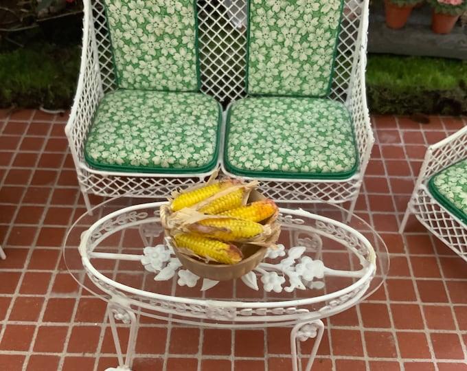 Miniature Bowl of Corn on the Cob, Mini Corn With Husks,  Dollhouse Miniature, 1:12 Scale, Miniature Food, Dollhouse Food, Decor