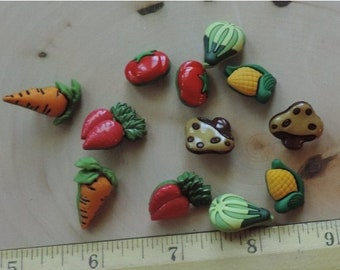 """SALE Vegetable Veggie Lover Buttons, Novelty Buttons Assortment Package by Buttons Galore, Style 4092 """"Veggie Lover"""", Sewing, Crafting Embel"""
