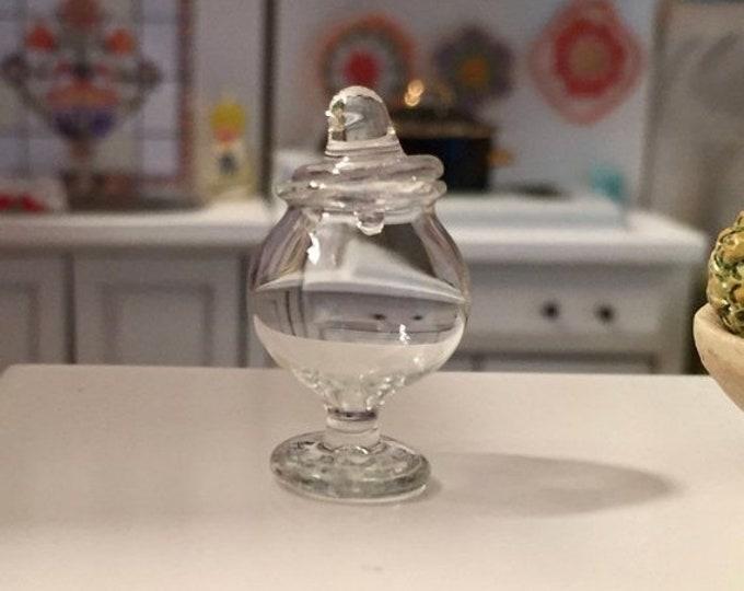 SALE Miniature Glass Jar, Mini Candy Cookie Jar, Dollhouse Miniature, 1:12 Scale, Dollhouse Accessory, Decor Item, Crafts