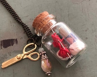 SALE Glass Cork Top Jar Necklace, Knitting and Yarn in Jar, Style #JF7-3, Mini Scissors Chain with Yarn Filled Jar, Knitting, Knitters Gift