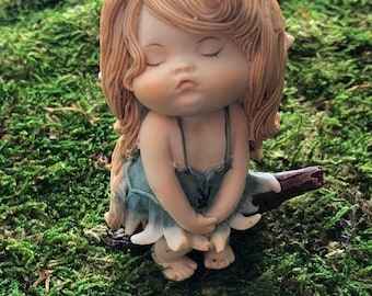 "SALE Little Fairy Figurine, ""Sassy Little Fairy"", Fairy Garden Accessory, Home and Garden Decor, Shelf Sitter, Topper, Gift"