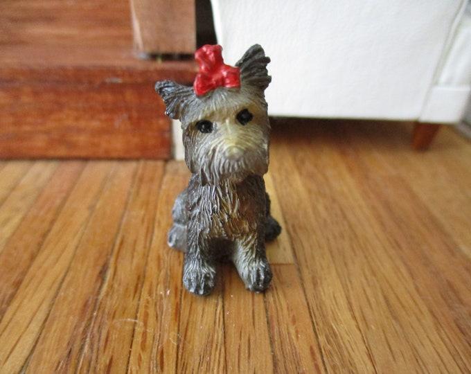 Miniature Dog, Mini Yorkshire Terrier Dog Figurine, Dollhouse Miniature, 1:12 Scale, Dollhouse Pet, Accessory