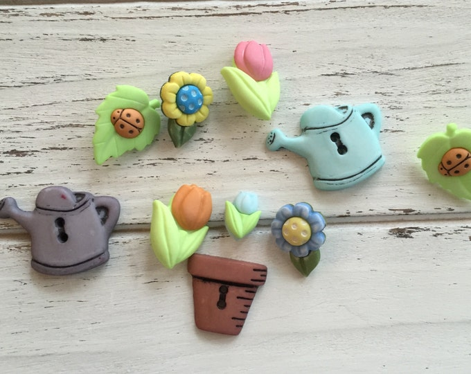 """Garden Buttons, Packaged Novelty Buttons,""""Bloomin Beauties"""" Style 4448 by Buttons Galore, Includes Flowers, Watering Can, Flower Pot"""