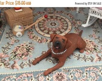 SALE Miniature Dog Figurine, Brown Dog, Style 36, Laying Down Dog, Dollhouse Miniature, 1:12 Scale, Dollhouse Pet, Topper, Shelf Sitter