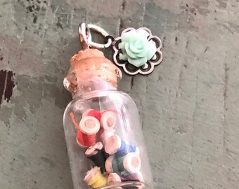 SALE Mini Glass Cork Top Jar Filled with Wood Thread Spools, Necklace Pendant/Charm, Ready for Hanging, Includes Mini Turq Rose Charm
