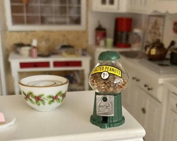 SALE Miniature Peanut Machine, Filled Green Coin Peanut Machine, Dollhouse Miniature, 1:12 Scale, Dollhouse Accessory, Decor, Topper, Crafts
