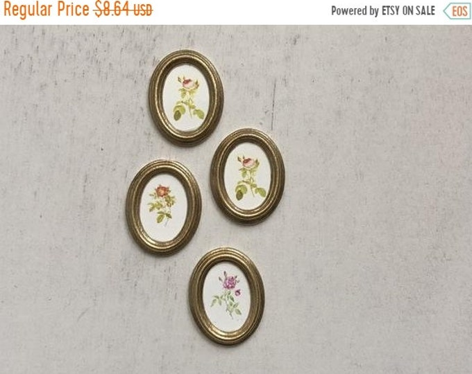 SALE Miniature Pictures, Framed Oval Rose Pictures, Dollhouse Miniatures, 1:12 Scale, Set of 4 Pictures, Dollhouse Decor, Accessories