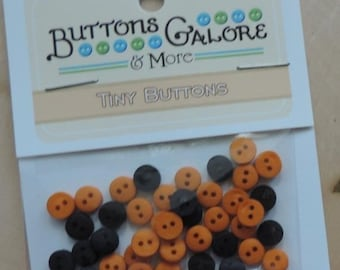 SALE Tiny Black and Orange Buttons, 2 Hole, Round Buttons, Style 1574 by Buttons Galore, Sewing, Crafting Buttons Embellishemtns
