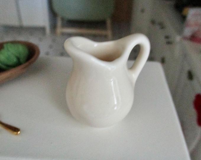 Miniature Pitcher, Mini White Ceramic Pitcher, Style #91, Dollhouse Miniature, 1:12 Scale, Dollhouse Accessory, Decor