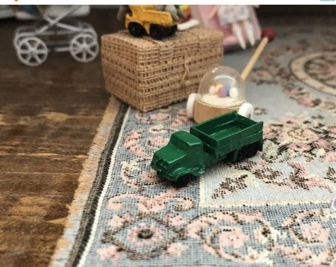 SALE Miniature Toy Truck, Mini Green Truck, Dollhouse Miniature, 1:12 Scale, Dollhouse Accessory, Decor, Crafts
