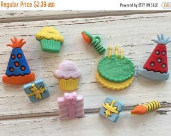 SALE Happy Birthday Party Buttons, Packaged Novelty Buttons by Buttons Galore, Style 4020, Includes Hat Cake Presents Candles, Sewing, Craft
