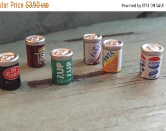 SALE Miniature Pop Soda Cans, Packaged Assortment Set, Dollhouse Miniatures, 1:12 Scale, Dollhouse Accessories, Pretend Drinks, Play Food