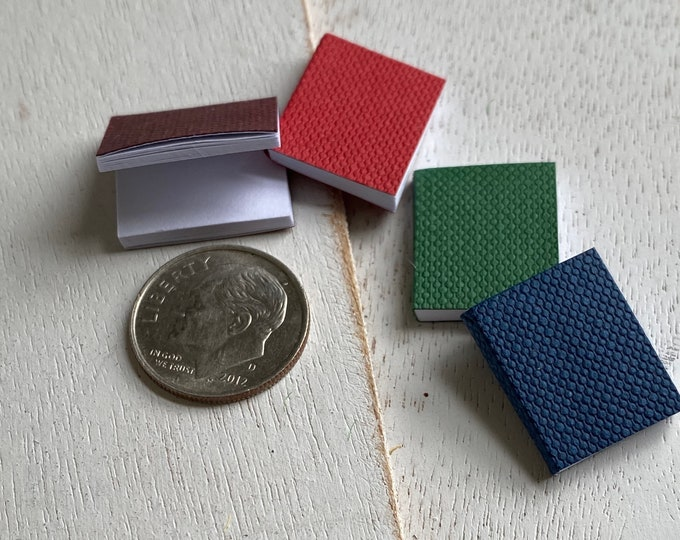 Miniature Books, Set of 4, Blank Pages, Dollhouse Miniatures, 1:12 Scale, Dollhouse Accessories, Crafting, Embellishment