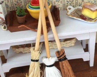 SALE Miniature Mops and Brooms, Packaged Set of 3 Pieces by Timeless Minis, Dollhouse Miniature, Dollhouse Accessory, Decor