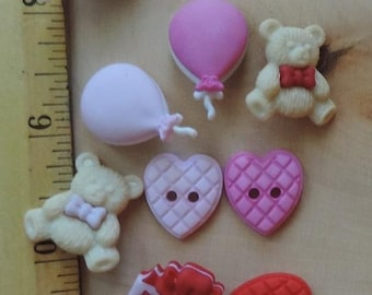 "SALE Romantic Buttons, Package Novelty Button Assortment by Buttons Galore, ""Love You Beary Much"" Style 4319, Bear, Balloons, Hearts, Valent"