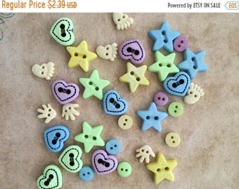 """SALE Baby Buttons and Embellishments """"Baby Shapes"""" Style 4422 by Buttons Galore, Includes Hands, Feet, Stars, Hearts, Sewing, Crafting Butto"""