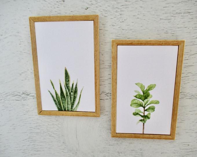 Miniature Framed Pictures, Plant Picture Set, Wood Frames, 2 Piece Set, Dollhouse Miniatures, 1:12 Scale