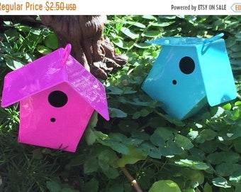 SALE Miniature Bright Pink Metal Birdhouse, Fairy Garden Accessory, Miniature Gardening, Home and Garden Decor, Topper, Crafting