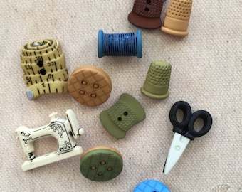 """Sewing Quilting Themed Novelty Buttons, Packaged Assortment """"Sewing"""" Style 4099 by Buttons Galore, Shank Back Buttons, Embellishments"""