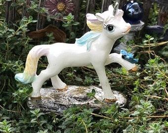SALE Miniature Unicorn Figurine, Sparkle Fizz Unicorn with Butterfly, #4683, Figurine, Fairy Garden Miniature Garden Accessory, Decor, Toppe
