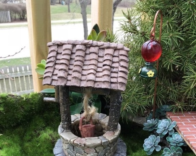 Featured listing image: SALE Miniature Well With Bucket, Stone and Wood Look Wishing Well, Fairy Garden Accessory, Mini Yard and Garden Decor, Shelf Sitter, Gift