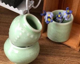 SALE Miniature Ceramic Vases, Set of 3 Green Vases, Dollhouse Miniatures, 1:12 Scale, Dollhouse Accessory, Decor, Crafts, Mini Vases