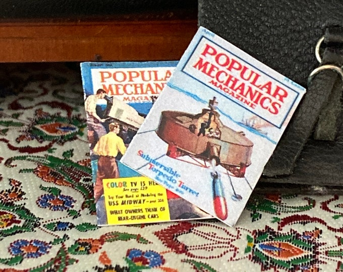 Evening Post Magazines, Dollhouse Miniatures, 1:12 Scale, Mini Magazines, Dollhouse Accessories, Decor, Mini Magazines, 2 Piece Set