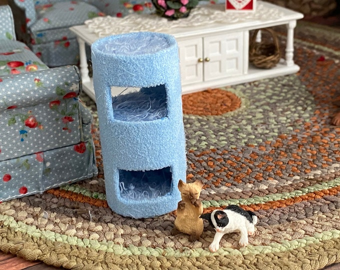 Miniature Kitty Condo, Mini Cat House, Blue Cat Condo, Dollhouse Miniature, 1:12 Scale, Dollhouse Decor, Accessory