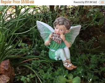 SALE Fairy Figurine, Sitting Green Fairy Playing Instrument, Glittered Wings, Fairy Garden, Miniature Home & Garden Decor, Crafts, Topper