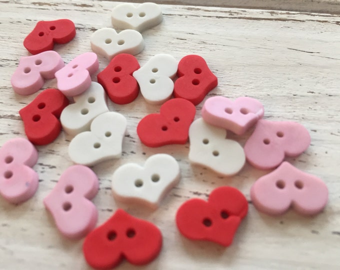 """Heart Buttons, Packaged Assortment """"Sweet Hearts"""" Style #4325 by Buttons Galore, 2 Hole Buttons, Sewing, Crafting, Embellishments"""