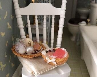 SALE Miniature Bathroom Accessory Set, Beige Towel, Filled Baskets, Soaps, Perfumes, Dollhouse Miniature, 1:12 Scale, Bathroom Decor