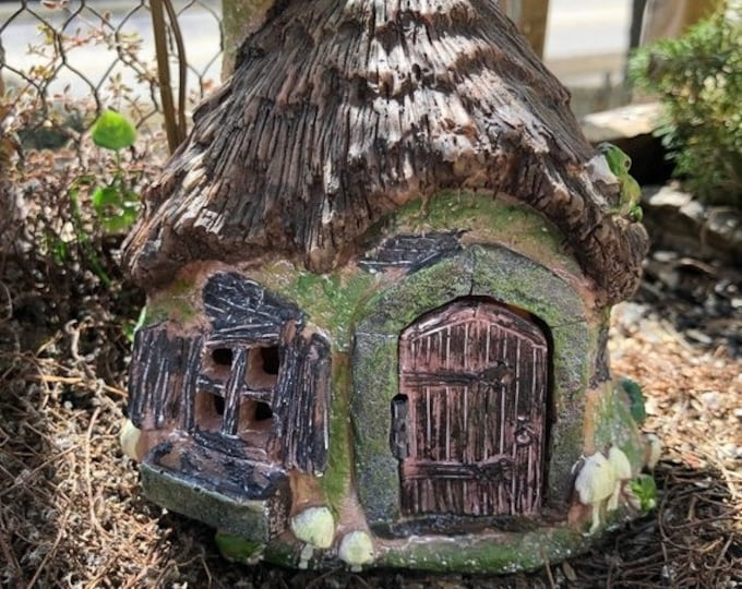 "SALE Fairy Garden House, ""Ribbets Ridge"" Cottage, Mini House With Working Door, Fairy Garden, Miniature Home and Garden Decor, Resin House"