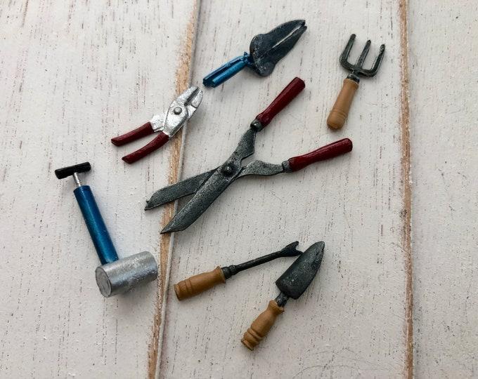 Miniature Garden Tool Set, Mini Tools, 7 Piece Set, Style #02, Dollhouse Miniatures, Dollhouse, Mini Garden Accessory