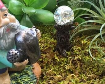 SALE Miniature Crystal Garden Glazing Ball on Tree Stump,  Fairy Garden Accessory, Garden Decor, Miniature Gardening, Terrarium Accessory