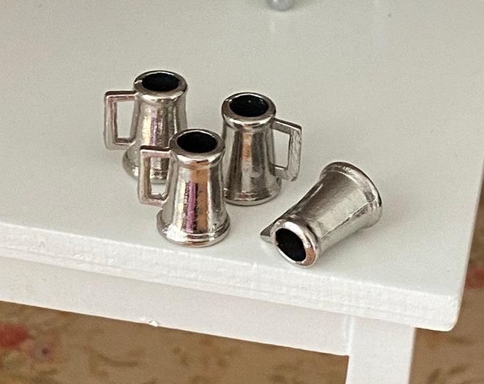 Miniature Metal Mugs, Mini Beer Mugs, Set of 4, Dollhouse Miniature, 1:12 Scale, Dollhouse Cups, Dollhouse Decor, Accessory