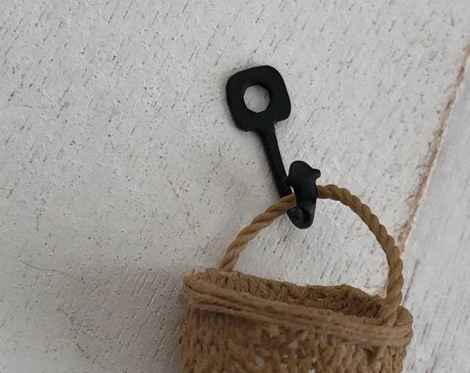 SALE Miniature Pot Holder Hook, Black Wall Hook, Dollhouse Miniature, 1:12 Scale, Dollhouse Decor, Accessory, Mini Hook Hanger