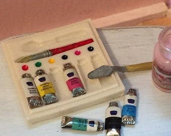 SALE Miniature Art Set With Paints, Watercolors, Spatula, Dollhouse Miniatures, 1:12 Scale, Home Decor, Accessory, Artist Supplies, Art, Pai