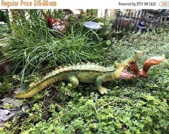 """SALE Little Gator Figurine with Squirrel """"Chompie Gets a Dental Check Up"""" #4736, Alligator Figurine, Fairy Garden, Miniature Garden Decor, G"""