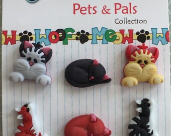 "Cat Buttons Pets & Pals Collection, ""Cool Cats"" by Buttons Galore Style #PP103, Carded Set of 6, Shank Back Buttons, Sewing, Crafting"