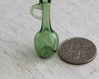 SALE Miniature Green Glass Jug With Handle, Mini Glass Bottle, Dollhouse Miniature, 1:12 Scale, Dollhouse Accessory, Decor, Mini Vase