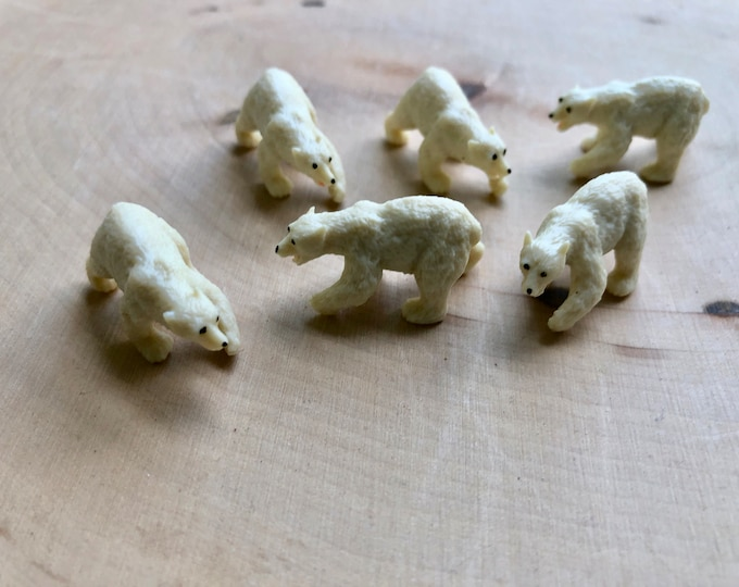 Miniature Polar Bears, Set of 6 Standing ini Polar Bear Figures, Plastic Bears, Great for Toppers, Crafts, Embellishments