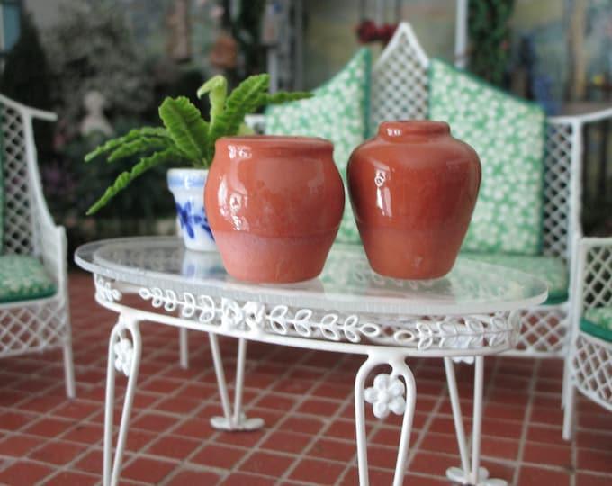 Miniature Glazed Urns, 2 Piece Set, Mini Ceramic Brown Urns Pots, Style #93, Dollhouse Miniature, 1:12 Scale, Dollhouse Pottery, Accessory