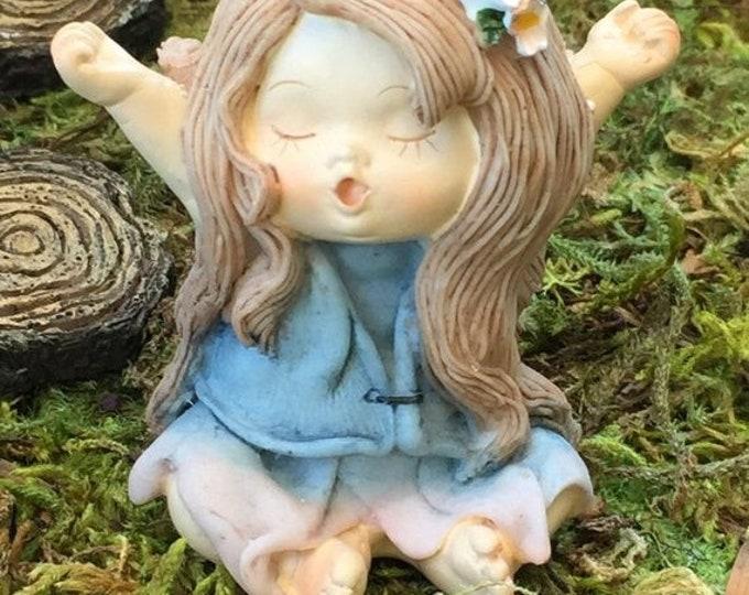 SALE Little Fairy Yawning Figurine, Fairy Garden Accessory, Miniature Gardening, Topper, Home and Garden Decor