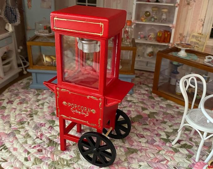 Miniature Popcorn Card, Mini Vintage Look Popcorn Machine Cart, Dollhouse Miniature, 1:12 Scale, Dollhouse Popcorn Popper
