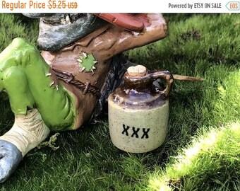 SALE Miniature Jug, Ceramic Crock With Cork, MoonShine Juice Water Jug, Fairy Garden Accessory, Miniature Home & Garden Decor, Brown Handle